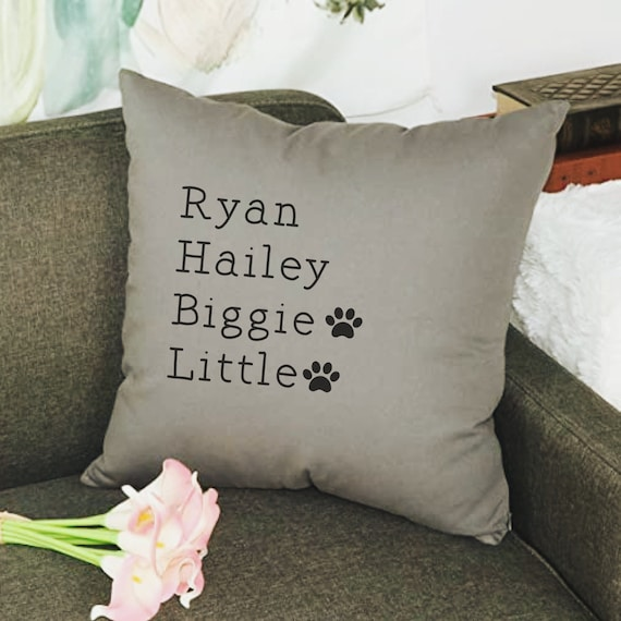 Family List Pillow Cover, Family Pillow Cover