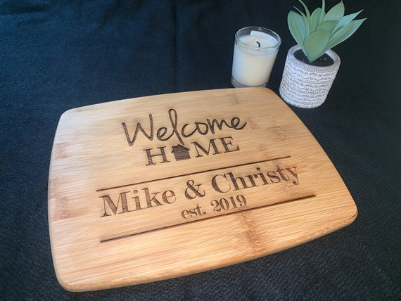 Welcome Home Cutting Board w/ EST & year  - Cutting Board - Perfect for Real Estate Agent or REALTOR housewarming gift
