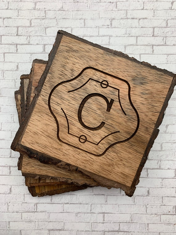 Personalized Wood Coasters, Square Engraved Custom Wood Coasters