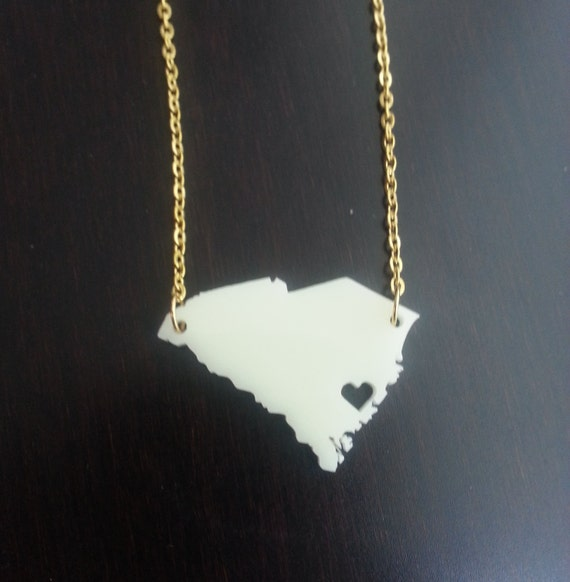 Personalized! Heart over Charleston, SC necklace