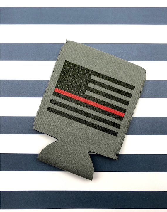 Thin Blue Line & Thin Red Line Can Cooler - Perfect for those who love firemen, firewoman, policemen and police woman