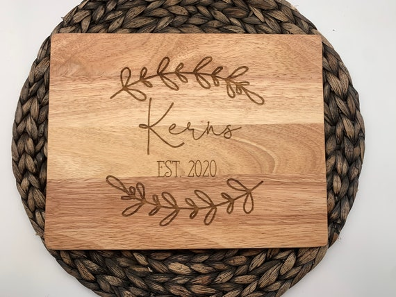 Last Name Cutting Board with Laurels