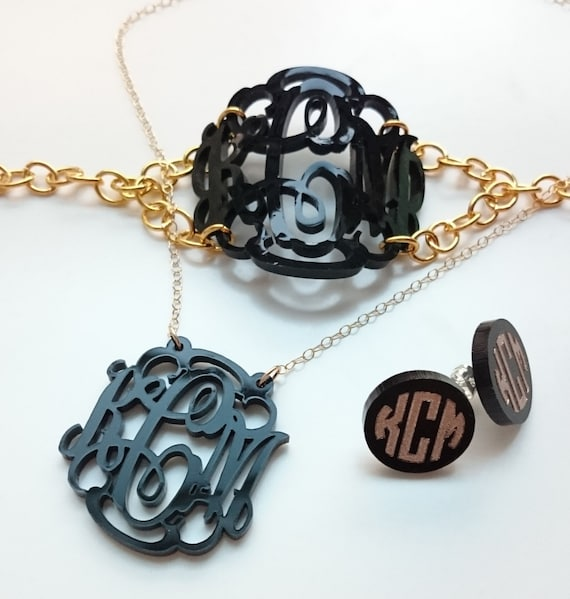 4 piece Gift Set: Monogram bracelet, necklace, and earrings - with gift box