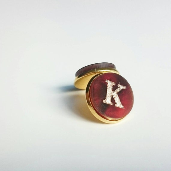 Initial StudEarrings - Tortoise Shell with Gold Engraving - with gift box