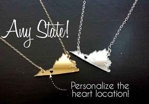 Mini mirror acrylic State Cutout Necklace