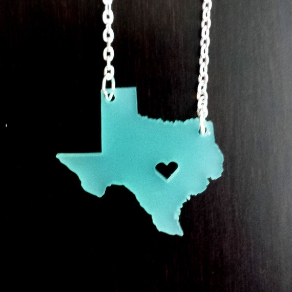 Personalized! Texas or ANY STATE Acrylic state cutout necklace