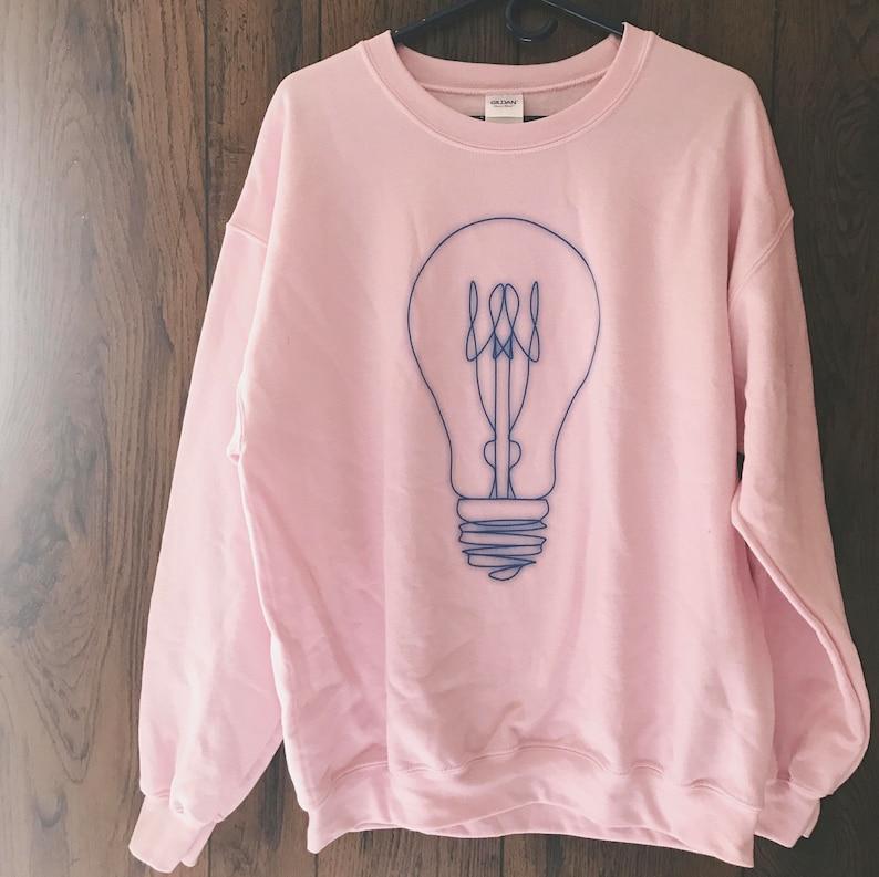 dd1205c9e5a09 retro light bulb - sweatshirts for women - pink sweatshirt - pastel goth -  aesthetic tumblr - 90s grunge - neon aesthetic - grunge style