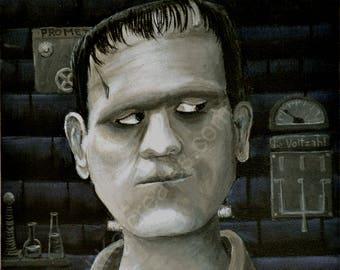 ORIGINAL The Monster - Horror Classic  -  Original Acrylic Art Painting - Halloween Art