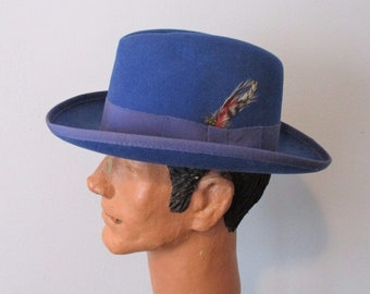 f0c9590c5b67a Godfather Homburg Fedora Hat Vintage 1960s Royal Blue Capas Wool Felt  Feathers Unisex