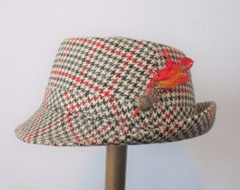 bc97113429f Houndstooth Fedora Hat Vintage 1960s Boys Kids Fall Colors Wool Feathers
