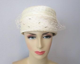 01eead466d786 Ivory Satin Beaded Hat Vintage 1960s Bridal Wedding Veil Pillbox