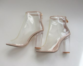 df419d7fe4c Lucite Boots Vintage 1990s Does 1970s Go Go Disco Clear Tan High Heels  Shoes Cape Robbin