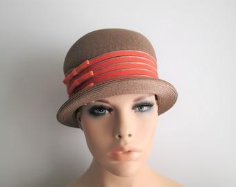 Womens Bowler Hat Vintage 1960s Taupe Orange Bows Fall Fashion c12f7a1974b7