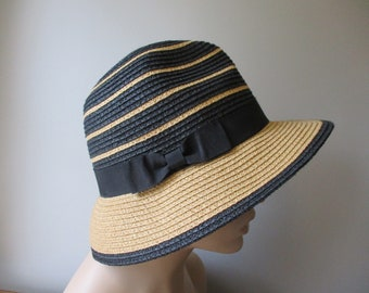 Straw Bucket Hat Vintage 1980s Yellow Black Striped Bow Magid Hats ac377db0a32