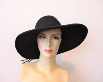 Black Wide Brimmed Hat Vintage 1960s Adolpho II Buckle Straps Wool Felt e7308faed09f