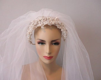 3ee4f603015c3 Wedding Veil Vintage 1980s Faux Pearl Beaded Garland White Nylon Veil Two  Layer Bridal Headpiece Hat