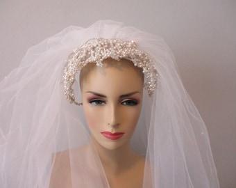 5f5122b8a2bfe Wedding Veil Vintage 1980s Faux Pearl Beaded Garland White Nylon Veil Two  Layer Bridal Headpiece Hat