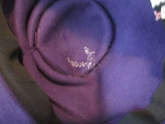 Cloche Hat Vintage 1940s Purple Plush Velour Rhin… - image 8