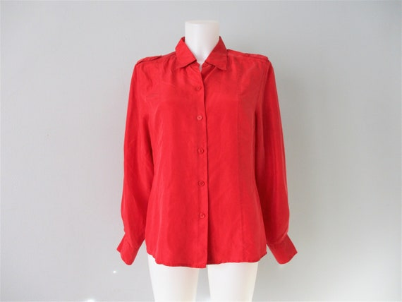 Red Silk Blouse Vintage 1980s Collared Button Down