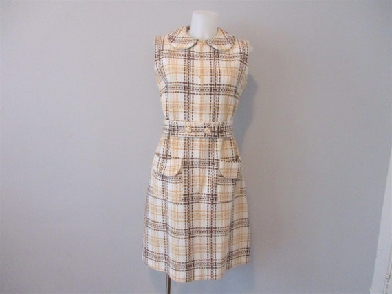 Vintage 1960s Dress Mod Wool Plaid Sleeveless Jum… - image 2