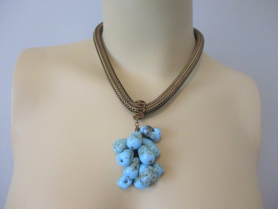 Vintage 1920s Necklace Beaded Art Glass Brass Coil