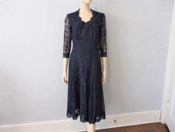 Lace Dress Gown Vintage 1930s 1940s Navy Blue Orig
