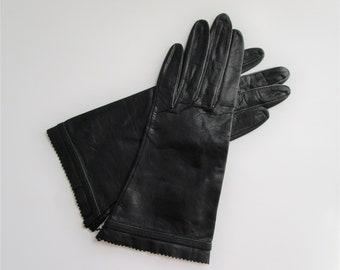 Driving Gloves Vintage 1940s Unworn Black Leather Bacmo
