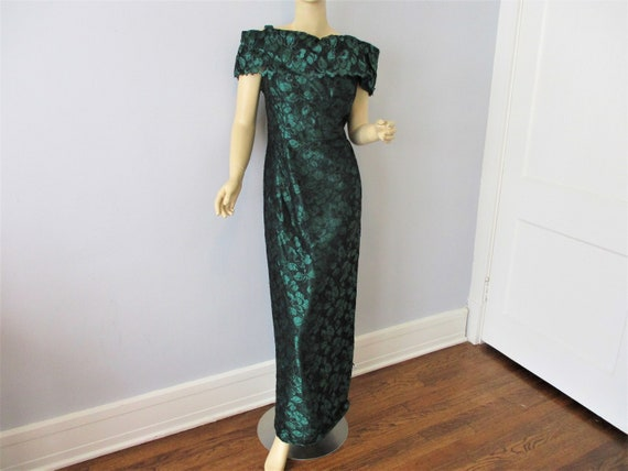 Evening Gown Dress Vintage 1980s Forest Green Blac