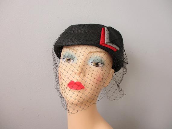 Cocktail Hat Vintage 1940s Black Straw Art Deco V