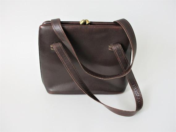 Brown Leather Purse Vintage 1950s Kelly Bag Handb… - image 2