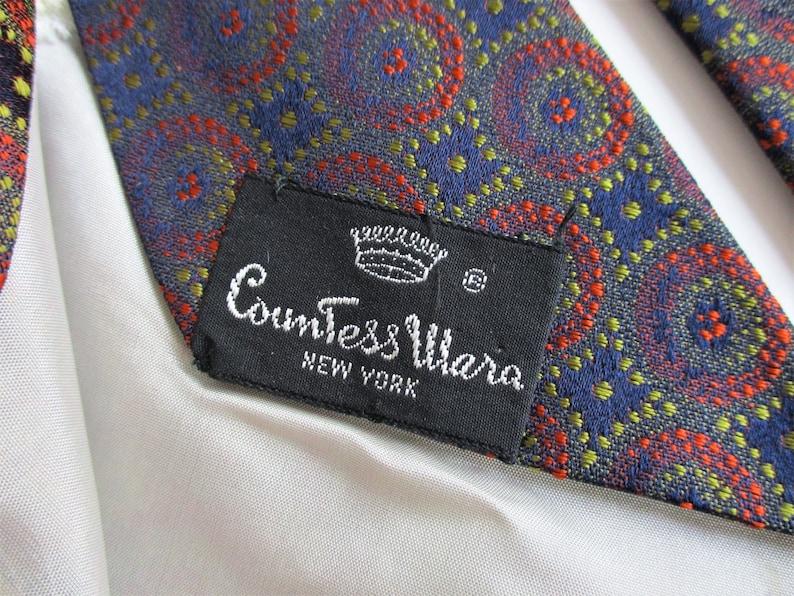 COUNTESS MARA Necktie Vintage 1960s Mod Polyester Geometric Designer Mens Unisex Tie