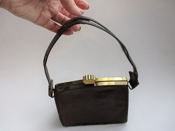 Art Deco Box Purse Vintage 1940s Brown Embossed L… - image 3