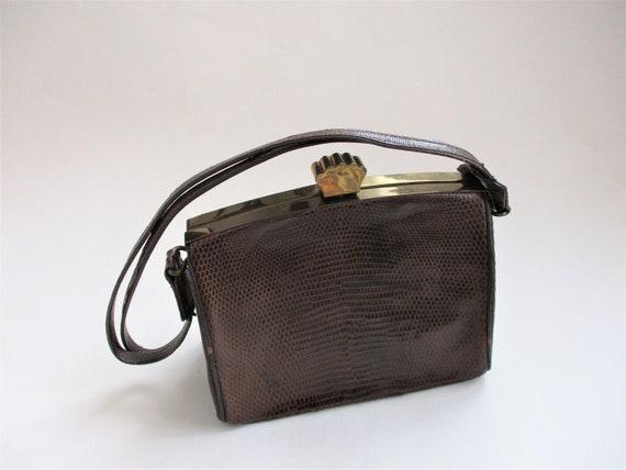 Art Deco Box Purse Vintage 1940s Brown Embossed L… - image 1