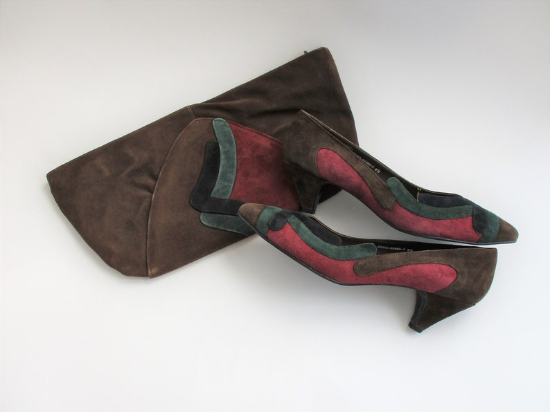 9ec49b3d7060f Clutch Purse Matching Pumps Vintage 1980s Color Block Brown Burgundy Green  Black Suede Leather Chandlers Set