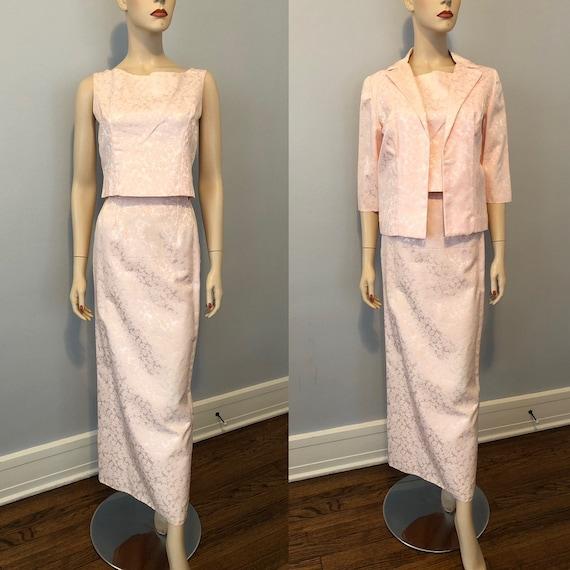 Pastel Pink Brocade Evening Skirt Top Jacket Vinta