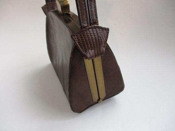 Art Deco Box Purse Vintage 1940s Brown Embossed L… - image 6