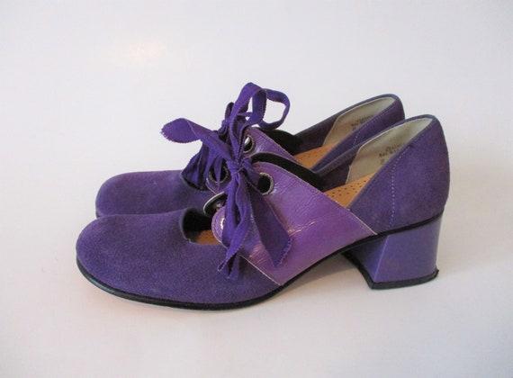 Mod Purple Shoes Vintage 1960s Suede Leather Chunk