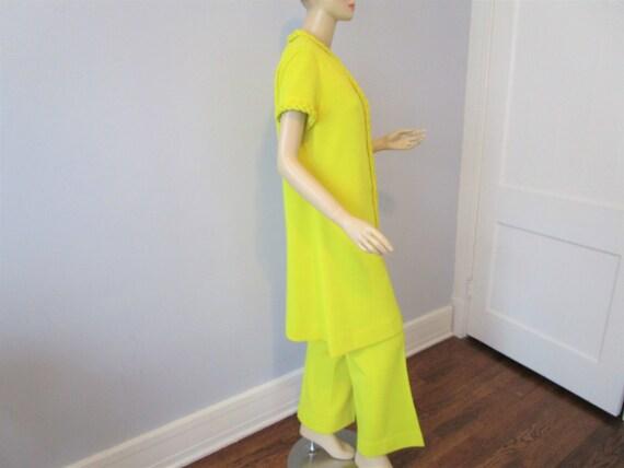 Tunic Dress Pants Suit Vintage 1970s Chartreuse Y… - image 3