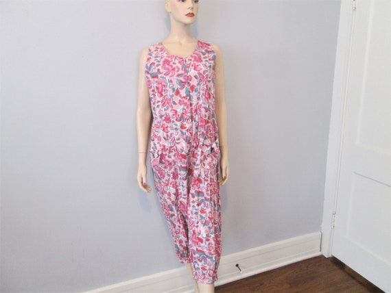 Vintage 1980s Jumpsuit Hot Pink Floral India Cotto