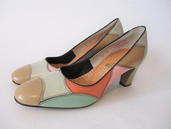 Mod Pumps Vintage 1960s Multicolor Leather Shoes H