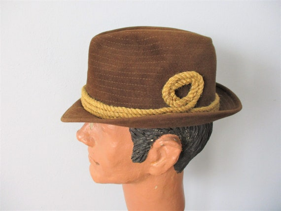 CHAMP Trilby Fedora Hat Vintage 1970s Brown Wool F