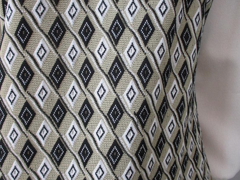 Polyester Pants Suit Tunic Vintage 1970s Retro Pointed Collar Geometric Black White Set