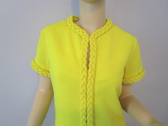 Tunic Dress Pants Suit Vintage 1970s Chartreuse Y… - image 2