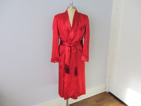 Smoking Jacket Robe Vintage 1940s Crimson Red Belt