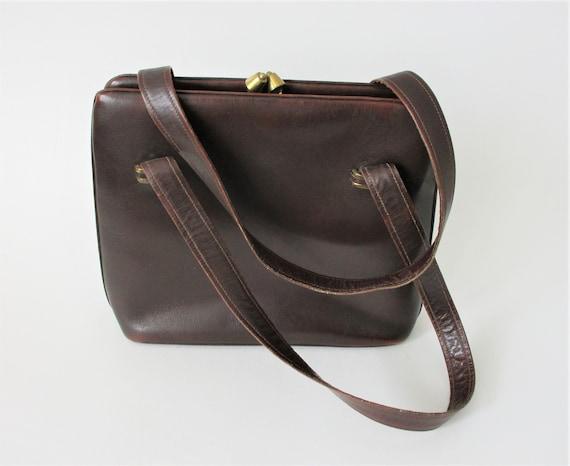 Brown Leather Purse Vintage 1950s Kelly Bag Handb… - image 1