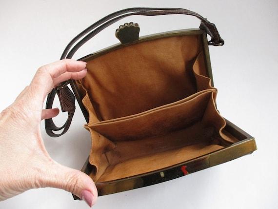 Art Deco Box Purse Vintage 1940s Brown Embossed L… - image 9