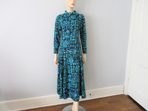 Psychedelic Dress Vintage 1970s Navy Blue Graphic
