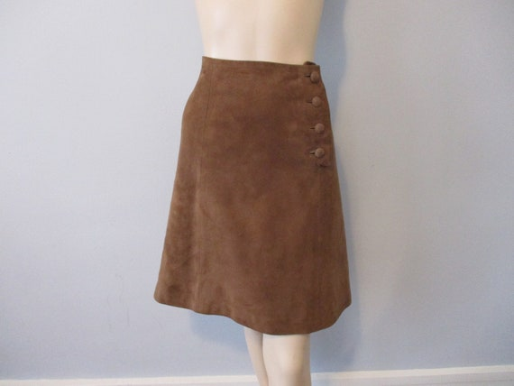 Suede Leather Skirt Vintage 1970s Brown A-Line Boh