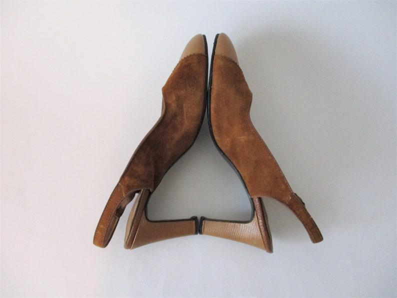 Vintage 1940s Slingback Heels Pumps Shoes Camel Brown Embossed Suede Leather