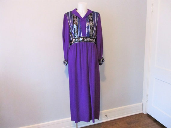 Purple Bohemian Maxi Cocktail Dress Vintage 1970s